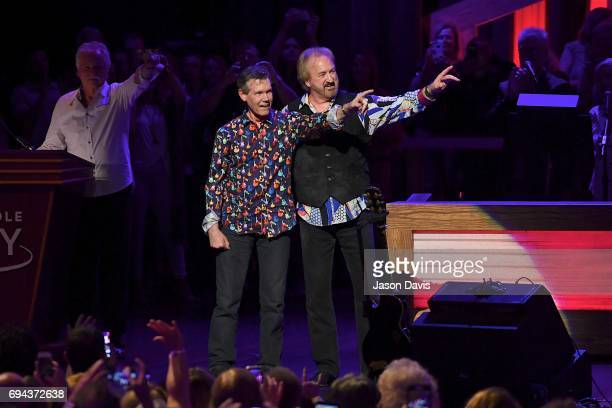 Recording Artist Randy Travis makes an appearance escorted by Duane Allen of The Oak Ridge Boys onstage at The Grand Ole Opry on June 9 2017 in...