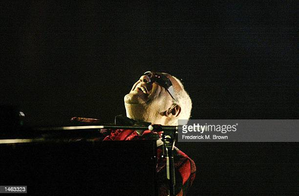 Recording artist Ray Charles performs during the Ray Charles Tribute On ice at the Staples Center on October 5 2002 in Los Angeles California The...