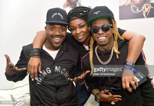 Recording artist Ray J Neiman Marcus VP of Mens Sportswear Twana Brown and Recording artist Lil Wayne attend Neiman Marcus x Young Money Launch at...