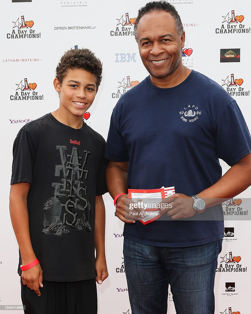 Recording Artist Ray Parker (R) attends 'A Day Of Champions' benefiting the Bogart Pediatric Cancer Research Program at the Sports Museum of Los Angeles on October 21, 2012 in Los Angeles, California.