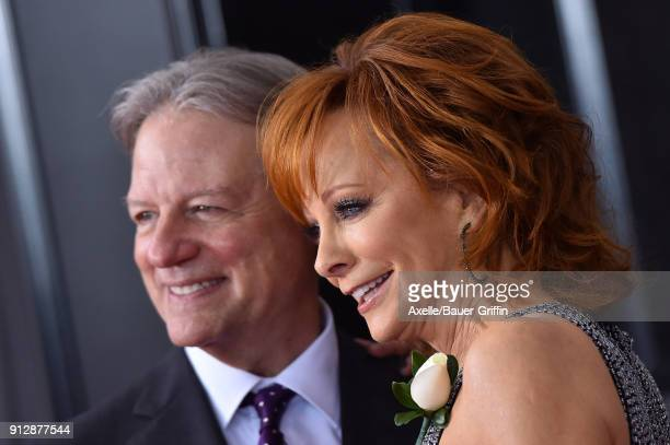 Recording artist Reba McEntire and Anthony 'Skeeter' Lasuzzo attend the 60th Annual GRAMMY Awards at Madison Square Garden on January 28 2018 in New...