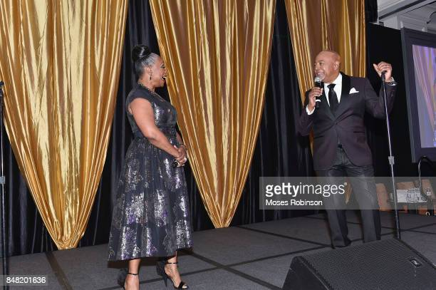 Recording artist Regina Belle and recording artist Peabo Bryson perform at the 2017 DMF Care for Congo Gala at St Regis Hotel on September 16 2017 in...