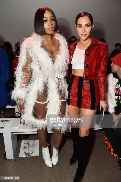 Recording artist Remy Ma and actor Jordan Duffy attend the Christian Cowan fashion show during New York Fashion Week The Shows at Gallery II at...