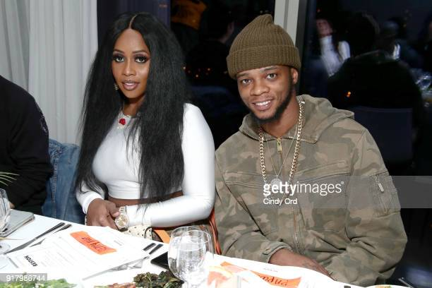 Recording artist Remy Ma and Papoose Mackie attend the Heron Preston Tequila Avion Dance Party in Celebration Of Heron Preston Public Figure at...