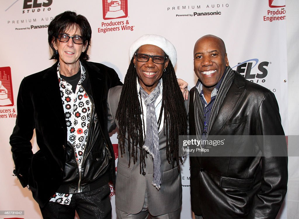 Recording artist Ric Ocasek, honoree Nile Rodgers and musician Nathan East attend the Eighth Annual GRAMMY week event honoring three-time GRAMMY Winner Nile Rodgers, hosted by the The Recording Academy Producers & Engineers Wing, held at The Village Studios on February 3, 2015 in Los Angeles, California.