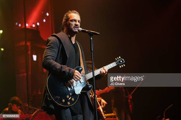 Recording artist Ricardo Arjona performs onstage during Circo Soledad Tour at Microsoft Theater on March 9 2018 in Los Angeles California
