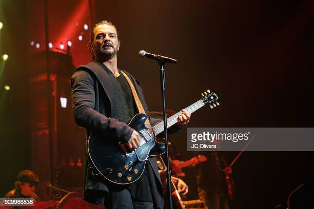 Recording artist Ricardo Arjona performs onstage during 'Circo Soledad' Tour at Microsoft Theater on March 9 2018 in Los Angeles California