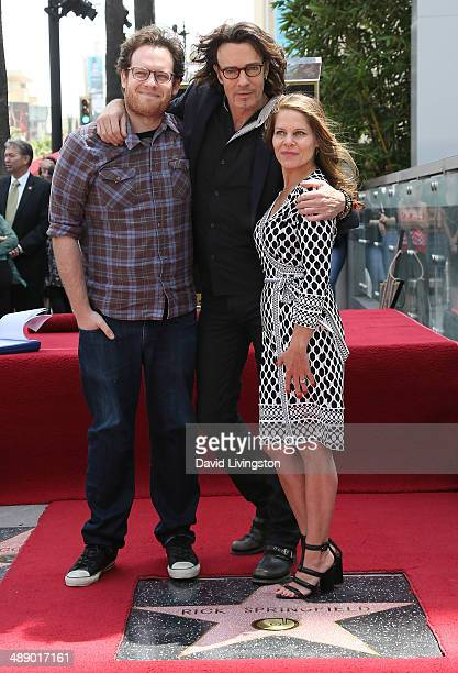 Recording artist Rick Springfield posing with wife Barbara Porter and son is honored with a Star on the Hollywood Walk of Fame on May 9 2014 in...