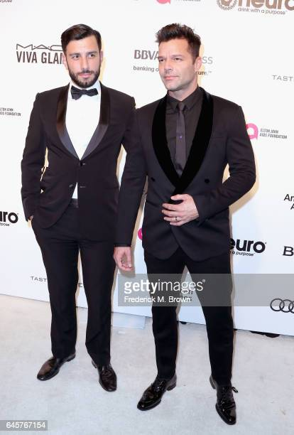 Recording Artist Ricky Martin and Jwan Yosef attends the 25th Annual Elton John AIDS Foundation's Academy Awards Viewing Party at The City of West...