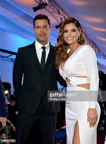 Recording artist Ricky Martin and TV host/model Chiquinquira Delgado attend the 16th Latin GRAMMY Awards at the MGM Grand Garden Arena on November 19...
