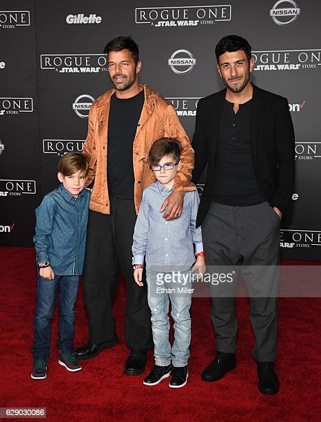 Recording artist Ricky Martin artist Jwan Yosef and Matteo Martin and Valentino Martin attend the premiere of Walt Disney Pictures and Lucasfilm's...