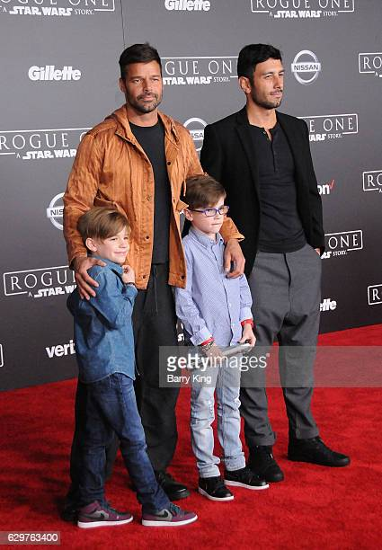 Recording Artist Ricky Martin sons Matteo Martin and Valentino Martin and artist Jwan Yosef attend the premiere of Walt Disney Pictures and...