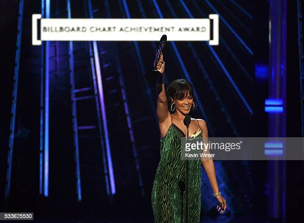 Recording artist Rihanna accepts the Billboard Chart Achievement Award onstage during the 2016 Billboard Music Awards at TMobile Arena on May 22 2016...
