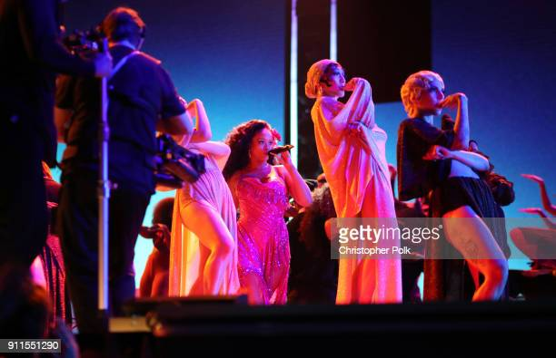 Recording artist Rihanna and dancers perform onstage during the 60th Annual GRAMMY Awards at Madison Square Garden on January 28 2018 in New York City