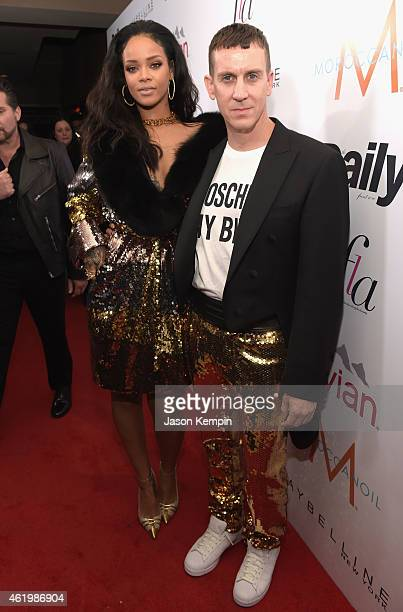 Recording artist Rihanna and honoree Jeremy Scott attend The DAILY FRONT ROW Fashion Los Angeles Awards Show at Sunset Tower on January 22 2015 in...