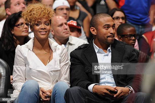 Recording Artist Rihanna and Los Angeles Dodgers player Matt Kemp attend a game between the Cleveland Cavaliers and the Los Angeles Clippers at...