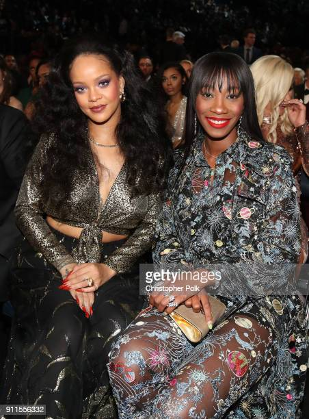 Recording artist Rihanna and Melissa Forde attend the 60th Annual GRAMMY Awards at Madison Square Garden on January 28 2018 in New York City