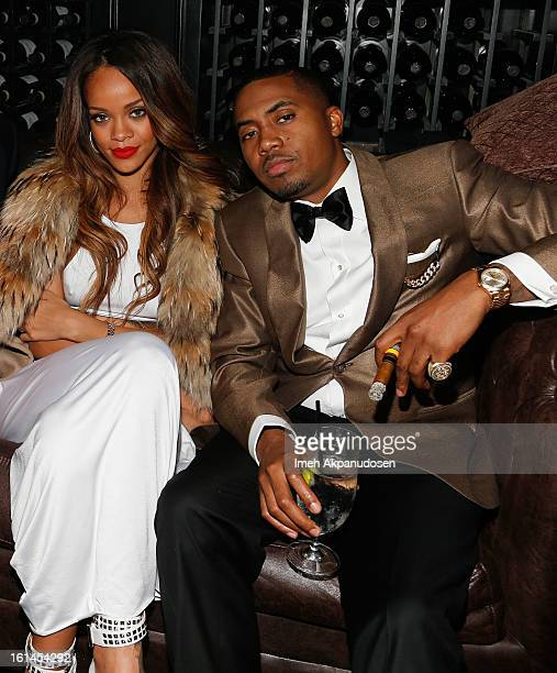 Recording artist Rihanna and rapper Nas attend the Island Def Jam Grammy Party sponsored by Samsung and Pepsi at Osteria Mozza on February 10 2013 in...