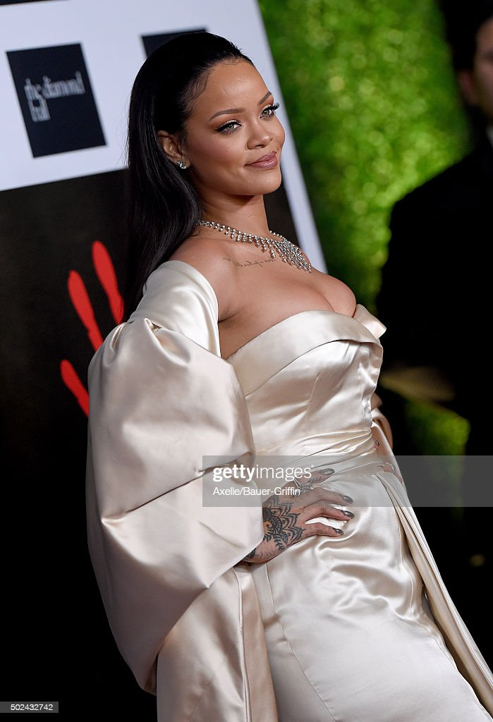 Recording artist Rihanna arrives at Rihanna and The Clara Lionel Foundation Host 2nd Annual Diamond Ball at The Barker Hanger on December 10, 2015 in Santa Monica, California.