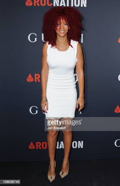 Recording Artist Rihanna arrives at the Gucci And RocNation Host PreGrammy Brunch At Soho House at Soho House on February 12 2011 in West Hollywood...