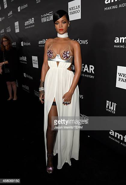 Recording artist Rihanna attends amfAR LA Inspiration Gala honoring Tom Ford at Milk Studios on October 29 2014 in Hollywood California
