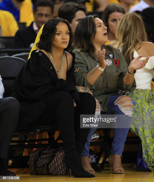 Recording artist Rihanna attends Game 1 of the 2017 NBA Finals between the Golden State Warriors and the Cleveland Cavaliers at ORACLE Arena on June...
