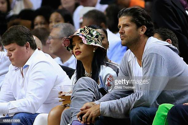 Recording artist Rihanna attends Game Two of the Eastern Conference Semifinals of the 2014 NBA Playoffs between the Brooklyn Nets and the Miami Heat...