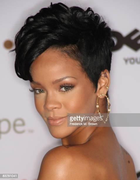 Recording artist Rihanna attends the 2008 Spirit of Life Award dinner honoring Doug Morris on October 15 2008 in Santa Monica California