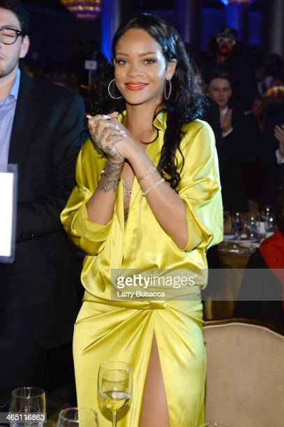 Recording artist Rihanna attends the 56th annual GRAMMY Awards PreGRAMMY Gala and Salute to Industry Icons honoring Lucian Grainge at The Beverly...