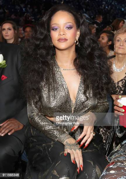 Recording artist Rihanna attends the 60th Annual GRAMMY Awards at Madison Square Garden on January 28 2018 in New York City