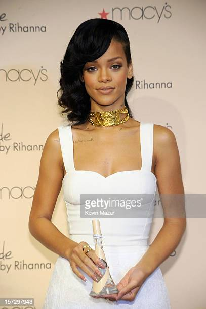 Recording artist Rihanna attends the launch of her third fragrance Nude By Rihanna at Macy's Westfield Century City on December 1 2012 in Century...