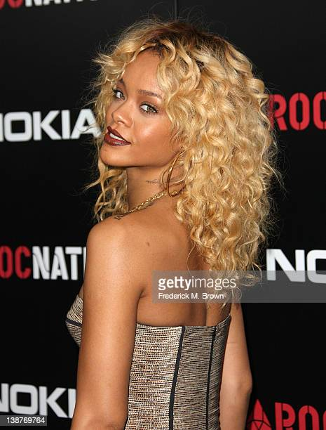 Recording artist Rihanna attends the Roc Nation PreGRAMMY Brunch at the Soho House on February 11 2012 in West Hollywood California