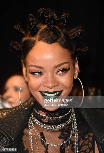 Recording artist Rihanna backstage at the 2014 iHeartRadio Music Awards held at The Shrine Auditorium on May 1, 2014 in Los Angeles, California....