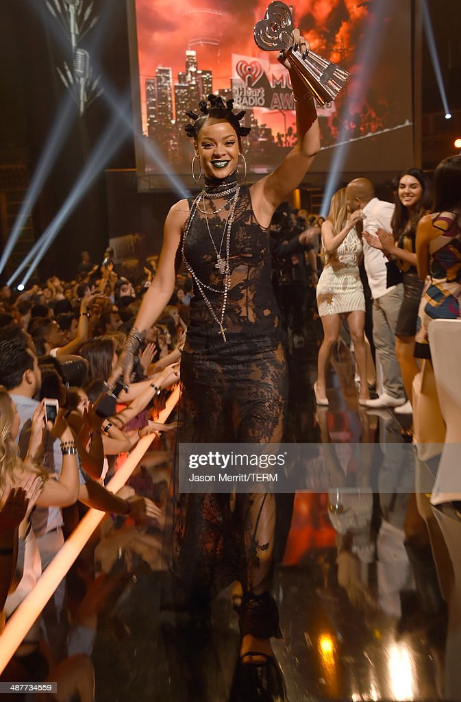 Recording artist Rihanna backstage at the 2014 iHeartRadio Music Awards held at The Shrine Auditorium on May 1, 2014 in Los Angeles, California. iHeartRadio Music Awards are being broadcast live on NBC.