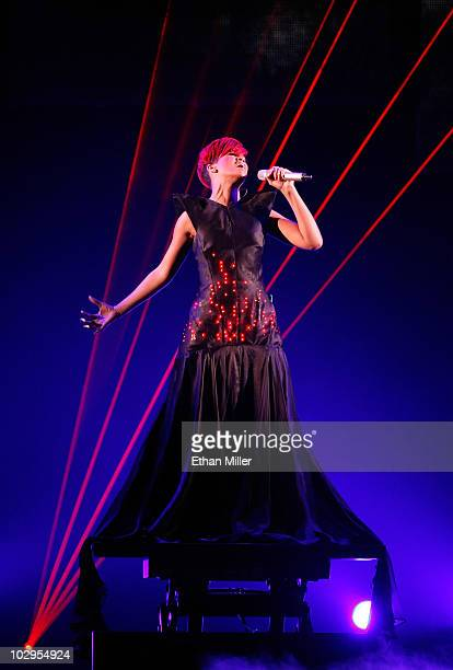 Recording artist Rihanna performs at the Mandalay Bay Events Center during her Last Girl On Earth tour July 17 2010 in Las Vegas Nevada Rihanna is...
