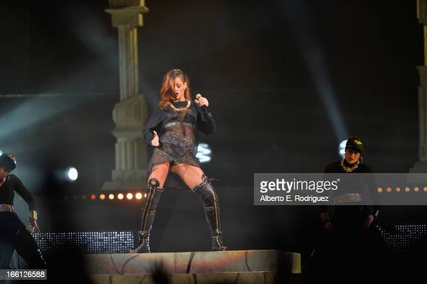 Recording artist Rihanna performs in concert at Staples Center on April 8, 2013 in Los Angeles, California.