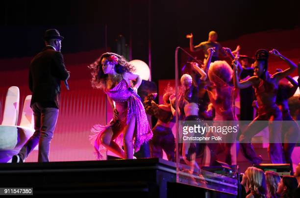 Recording artist Rihanna performs on stage during the 60th Annual GRAMMY Awards at Madison Square Garden on January 28 2018 in New York City