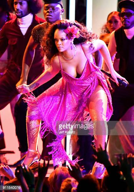 Recording artist Rihanna performs onstage during the 60th Annual GRAMMY Awards at Madison Square Garden on January 28 2018 in New York City