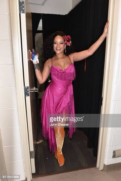 Recording artist Rihanna poses backstage during the 60th Annual GRAMMY Awards at Madison Square Garden on January 28 2018 in New York City