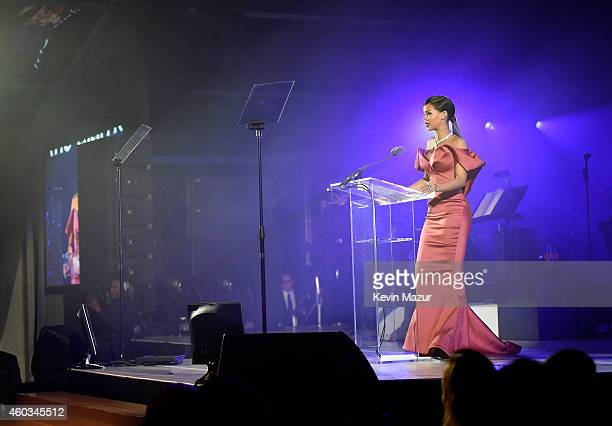 Recording artist Rihanna speaks onstage at The Inaugural Diamond Ball presented by Rihanna and The Clara Lionel Foundation at The Vineyard on...