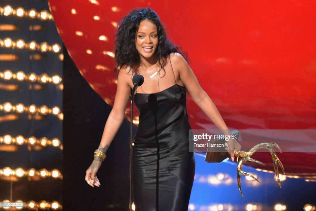 Recording artist Rihanna speaks onstage during Spike TV's 'Guys Choice 2014' at Sony Pictures Studios on June 7, 2014 in Culver City, California.