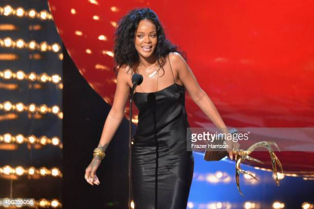 Recording artist Rihanna speaks onstage during Spike TV's 'Guys Choice 2014' at Sony Pictures Studios on June 7 2014 in Culver City California