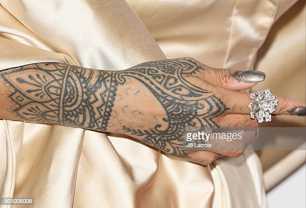 Recording artist Rihanna tattoo detail attends the 2nd Annual Diamond Ball hosted by Rihanna and The Clara Lionel Foundation at The Barker Hanger on...