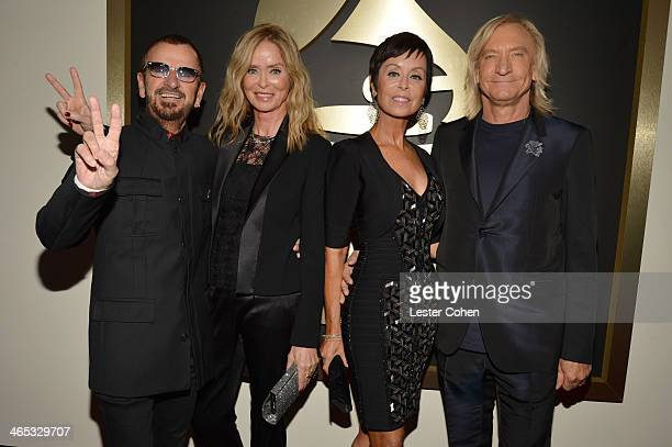 Recording artist Ringo Starr actress Barbara Bach actress Marjorie Bach and recording artist Joe Walsh attend the 56th GRAMMY Awards at Staples...
