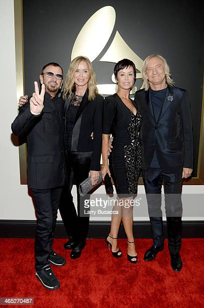 Recording Artist Ringo Starr, actress Barbara Bach, Marjorie Bach and recording artist Joe Walsh attend the 56th GRAMMY Awards at Staples Center on...