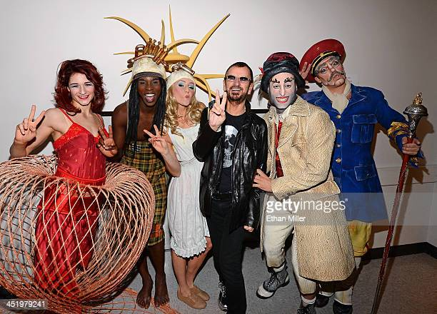 Recording artist Ringo Starr meets with performers from 'The Beatles LOVE by Cirque du Soleil' on November 22 2013 in Las Vegas Nevada