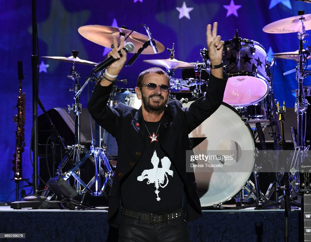 Recording artist Ringo Starr performs with Ringo Starr & His All-Starr Band at Planet Hollywood Resort & Casino in support of his new album 'Give More Love' on October 20, 2017 in Las Vegas, Nevada.