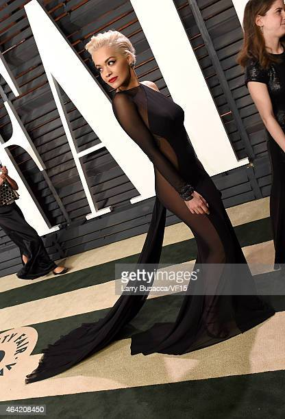 Recording artist Rita Ora attends the 2015 Vanity Fair Oscar Party hosted by Graydon Carter at the Wallis Annenberg Center for the Performing Arts on...