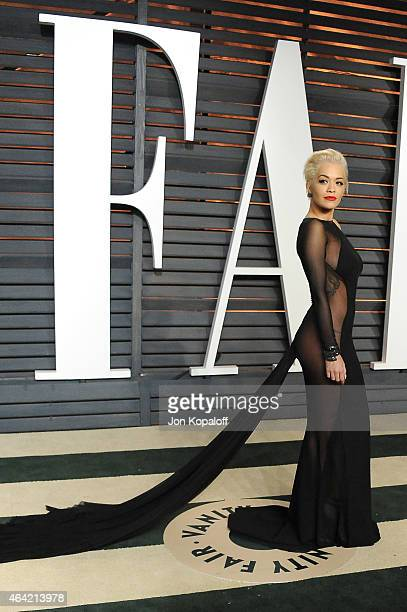 Recording artist Rita Ora attends the 2015 Vanity Fair Oscar Party hosted by Graydon Carter at Wallis Annenberg Center for the Performing Arts on...