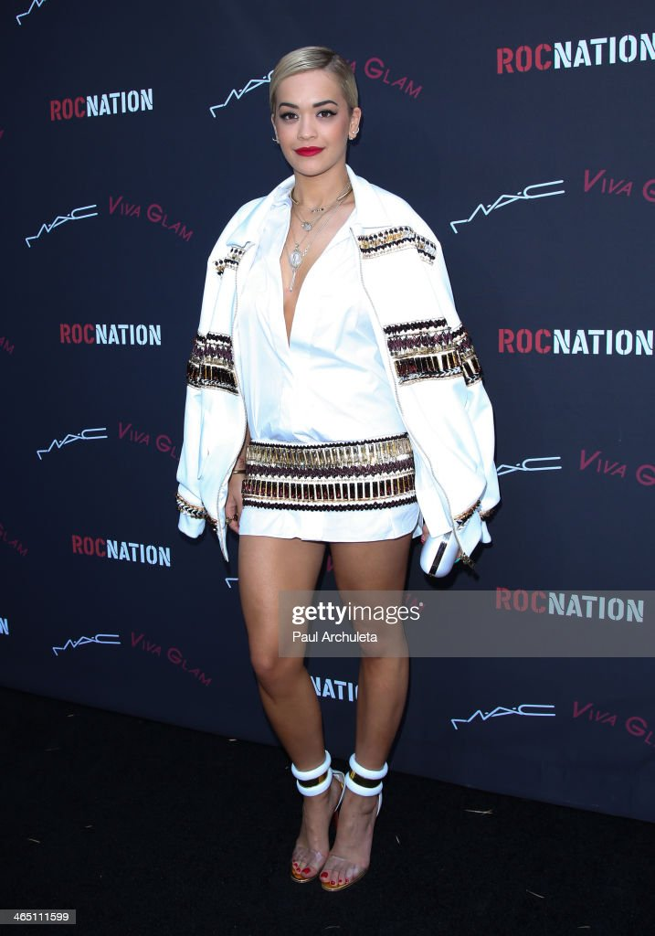 Recording Artist Rita Ora attends the Roc Nation pre-Grammy brunch on January 25, 2014 in Los Angeles, California.